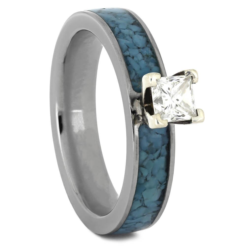 Titanium Engagement Ring with Crushed Turquoise, Size 5.5-RS11067 - Jewelry by Johan