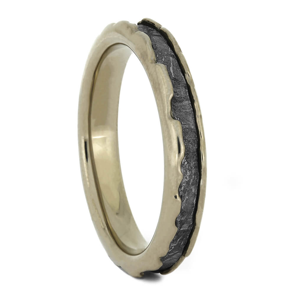Gibeon Meteorite Wedding Band with White Gold Wavy Design, Size 6-RS11068 - Jewelry by Johan