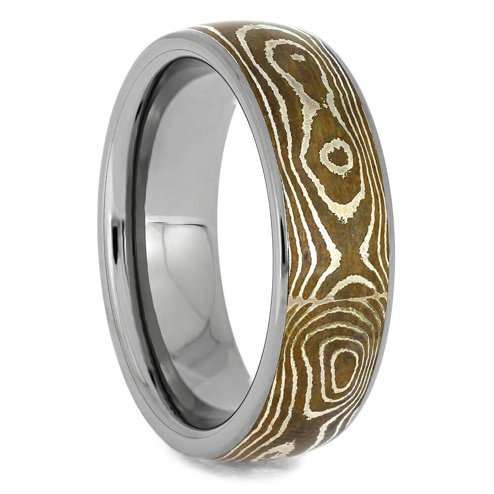 Copper Silver Mokume Ring with Titanium Sleeve