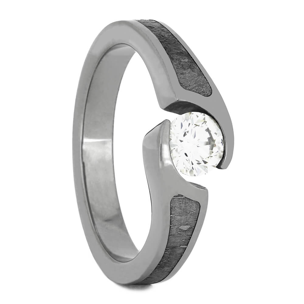 Diamond and Meteorite Engagement Ring, Size 7.25-RS11070 - Jewelry by Johan