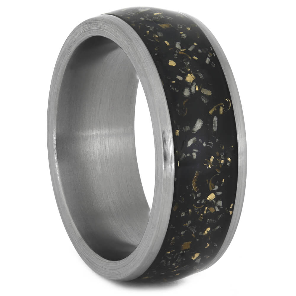 Black Stardust™ Wedding Band With Gold Flakes, Size 8.25-RS11071 - Jewelry by Johan