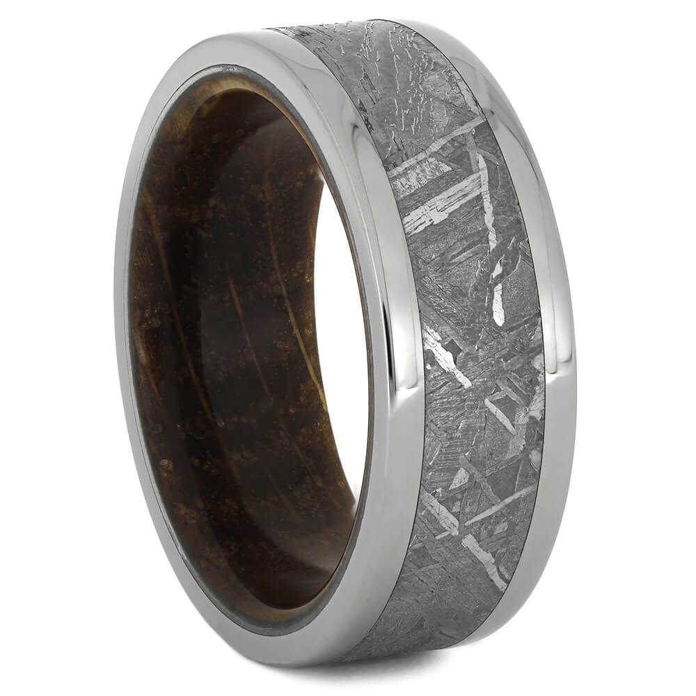 Meteorite Ring with Whiskey Barrel Oak Sleeve, Size 8.75-RS11074 - Jewelry by Johan