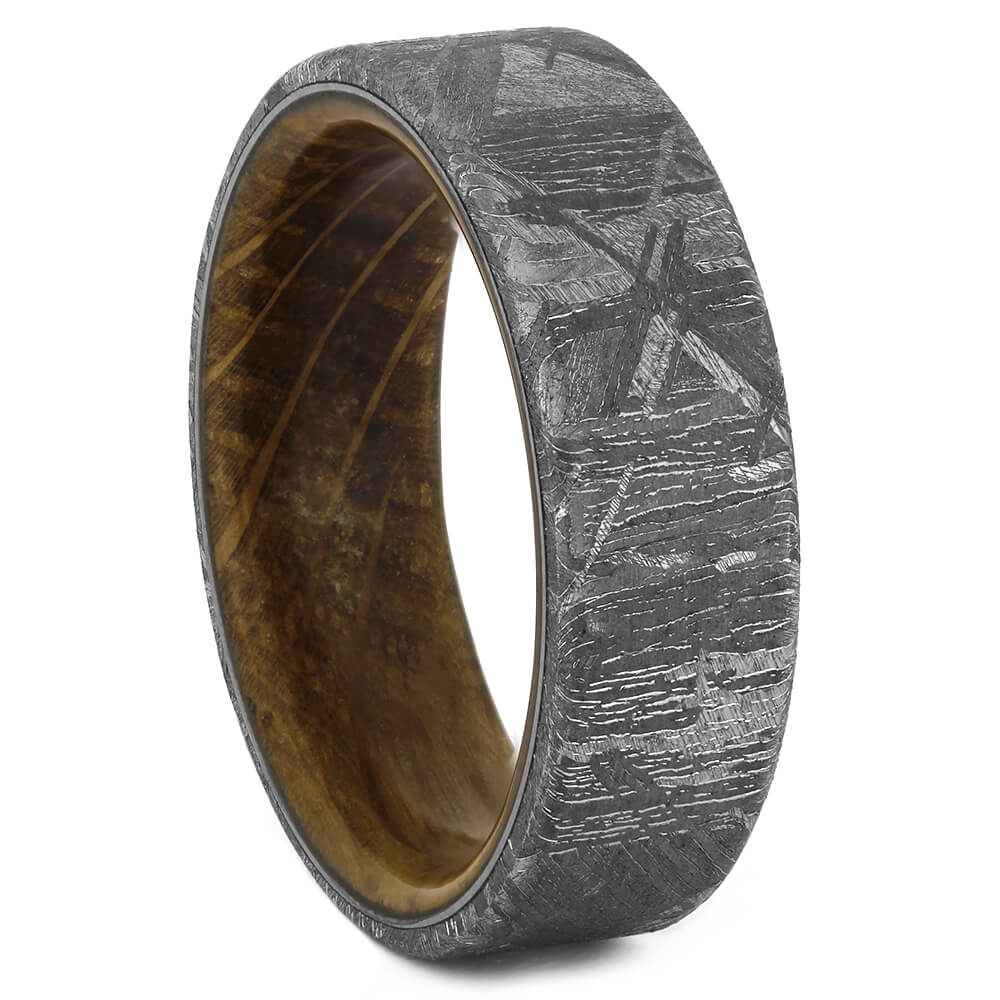 Whiskey Sleeve Wedding Band with Gibeon Meteorite, Size 9-RS11075 - Jewelry by Johan
