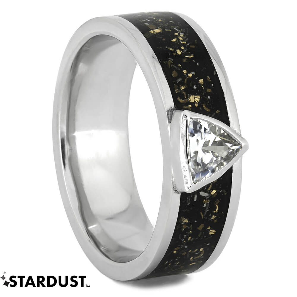 Black Stardust™ Engagement Ring with White Sapphire, Size 9.5-RS11077 - Jewelry by Johan