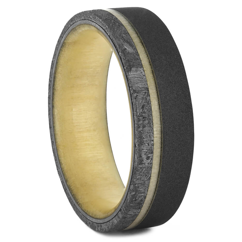 Dark Titanium Ring with Meteorite and Aspen, Size 10-RS11079 - Jewelry by Johan