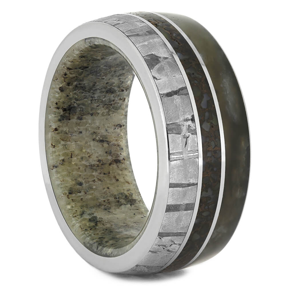 Men's Wedding Band with Petrified Wood and Meteorite, Size 10-RS11080 - Jewelry by Johan