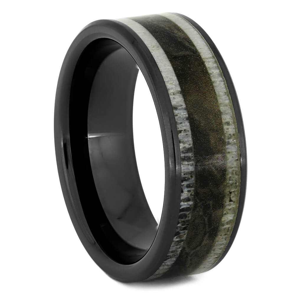 Black Ceramic Ring with Deer Antler and Camo, Size 10-RS11081 - Jewelry by Johan