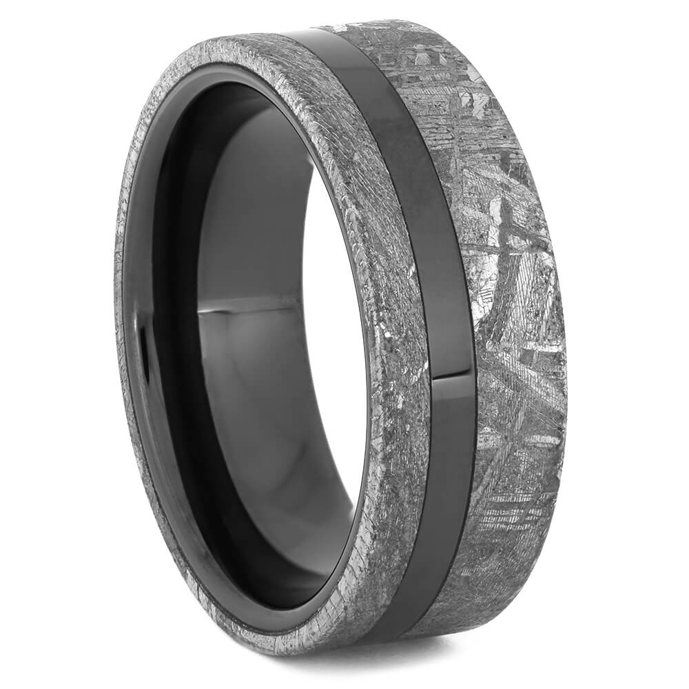 Black Ceramic Wedding Band with Meteorite, Size 10-RS11082 - Jewelry by Johan