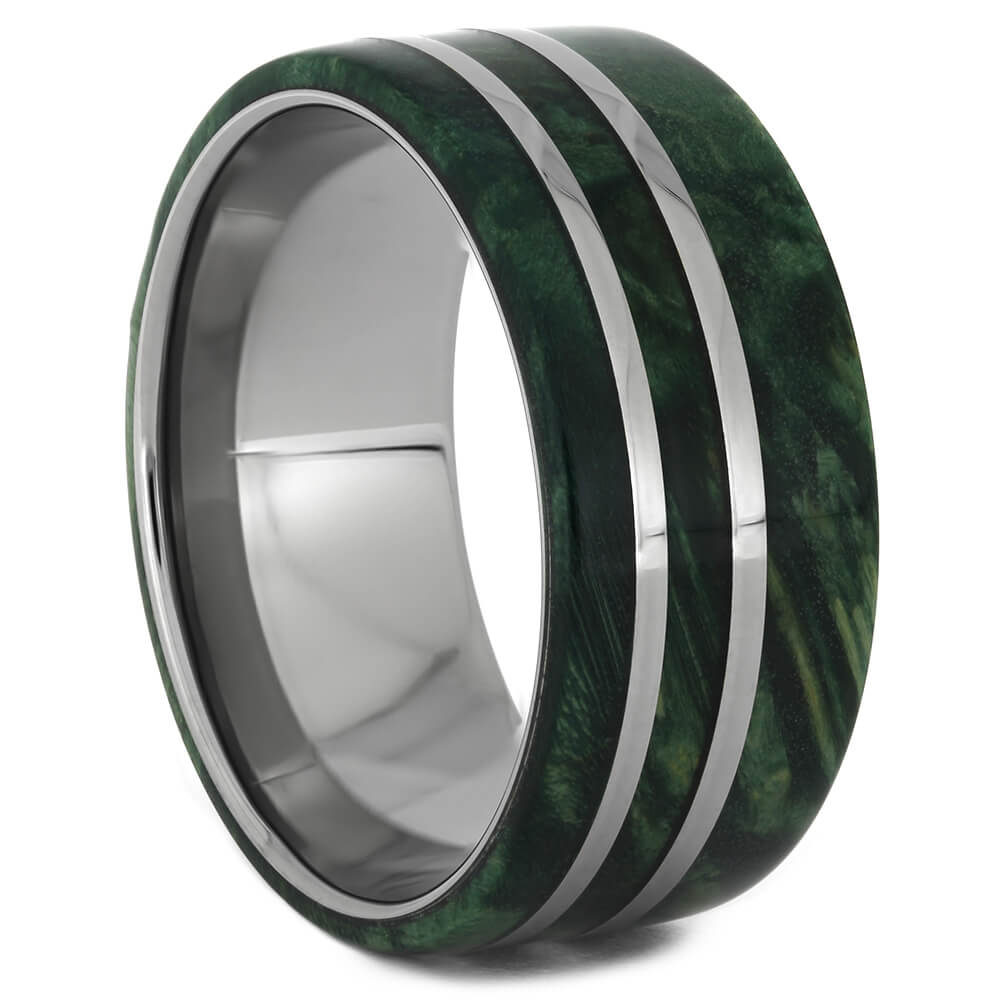 Wide Green Wedding Band with Titanium Pinstripes, Size 10.5-RS11083 - Jewelry by Johan