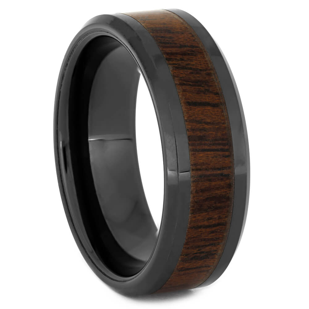Mahogany Wood Ring with Black Cerami, Size 10.5-RS11084 - Jewelry by Johan