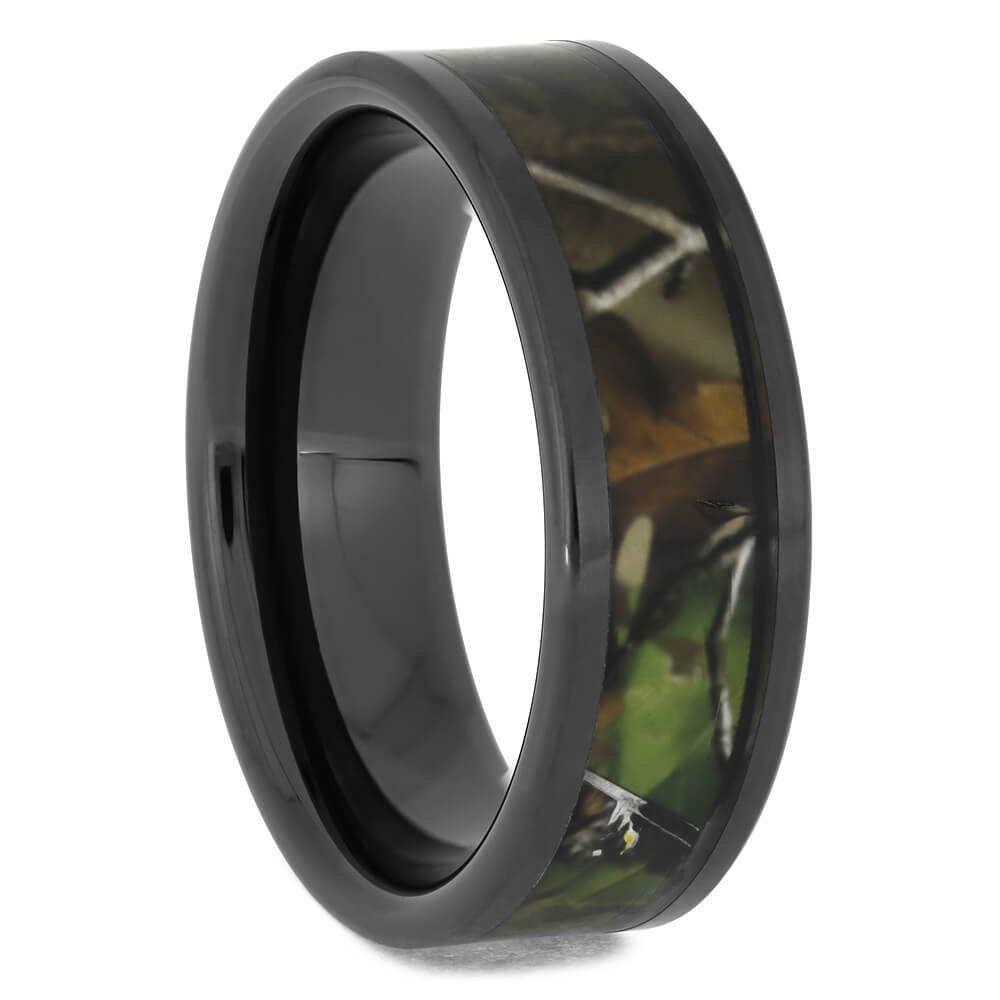 Men's Black Ceramic Camo Wedding Band