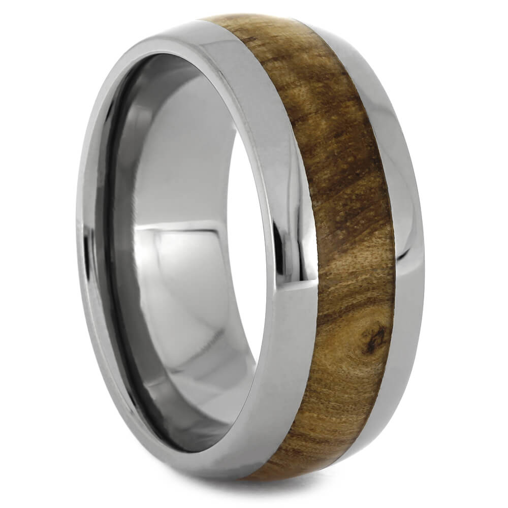 Black Ash Wedding Band in Titanium, Size 7.25-RS11092 - Jewelry by Johan