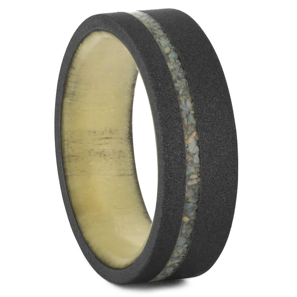 Aspen Ring with Sandblasted Titanium and Opal, Size 8-RS11093 - Jewelry by Johan