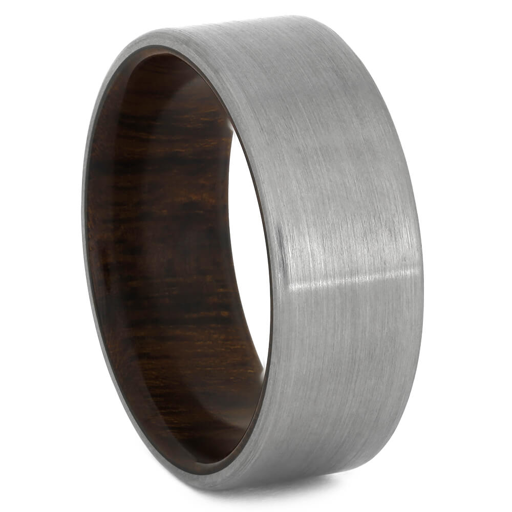 Titanium Overlaid Wedding Band with Ironwood Sleeve