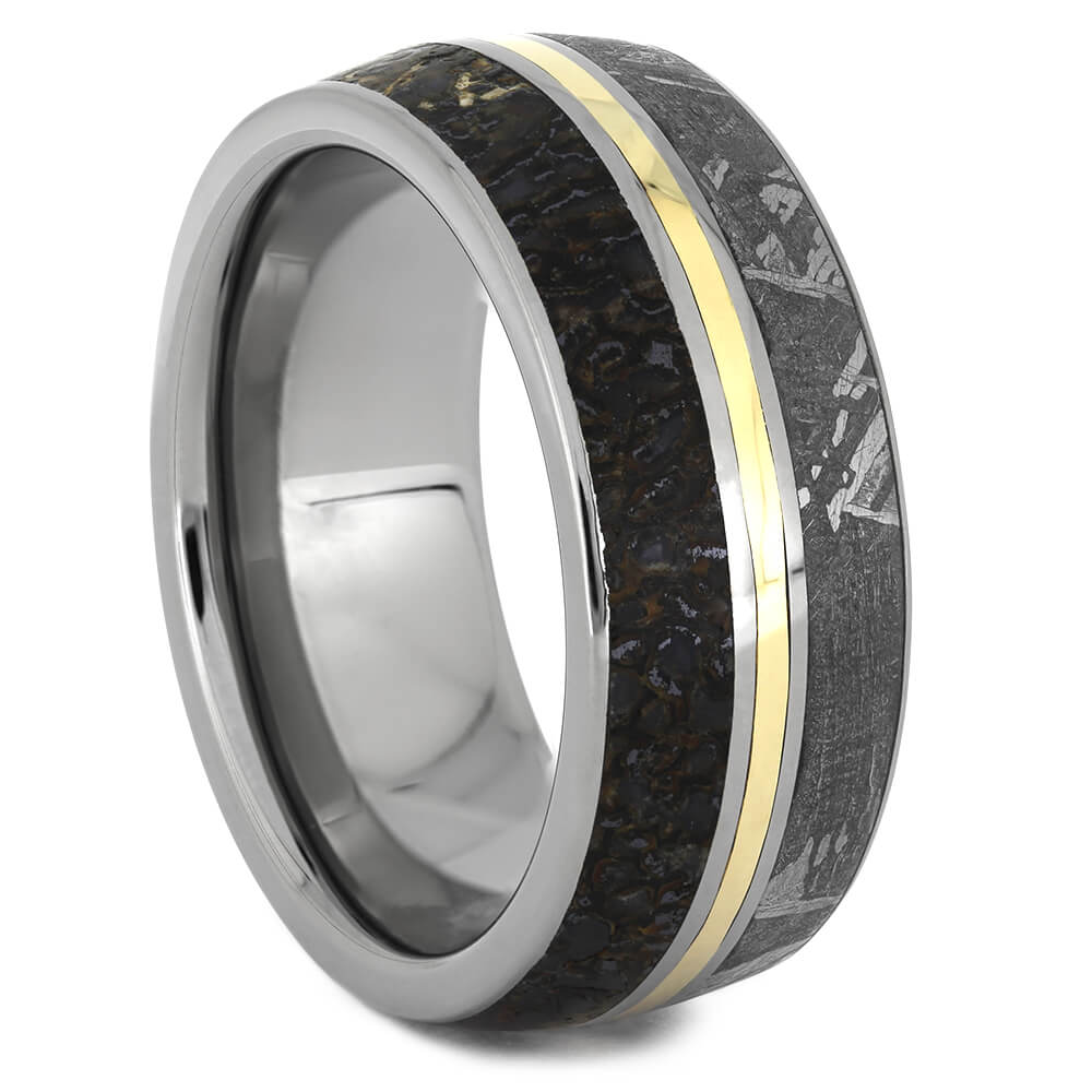 Gibeon Meteorite and Dinosaur Bone Ring with Yellow Gold Accent and Titanium