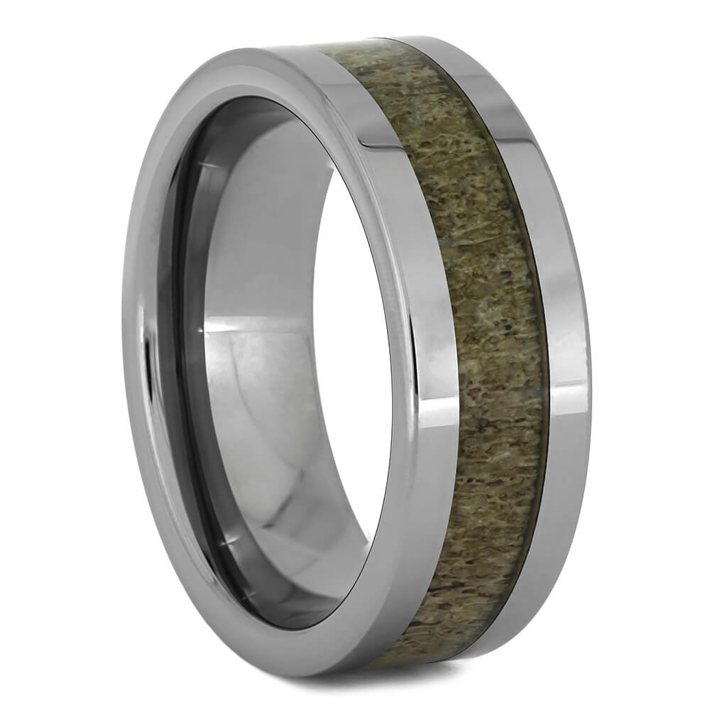 Men's Tungsten Wedding Band with Deer Antler, Size 9.75-RS11099 - Jewelry by Johan