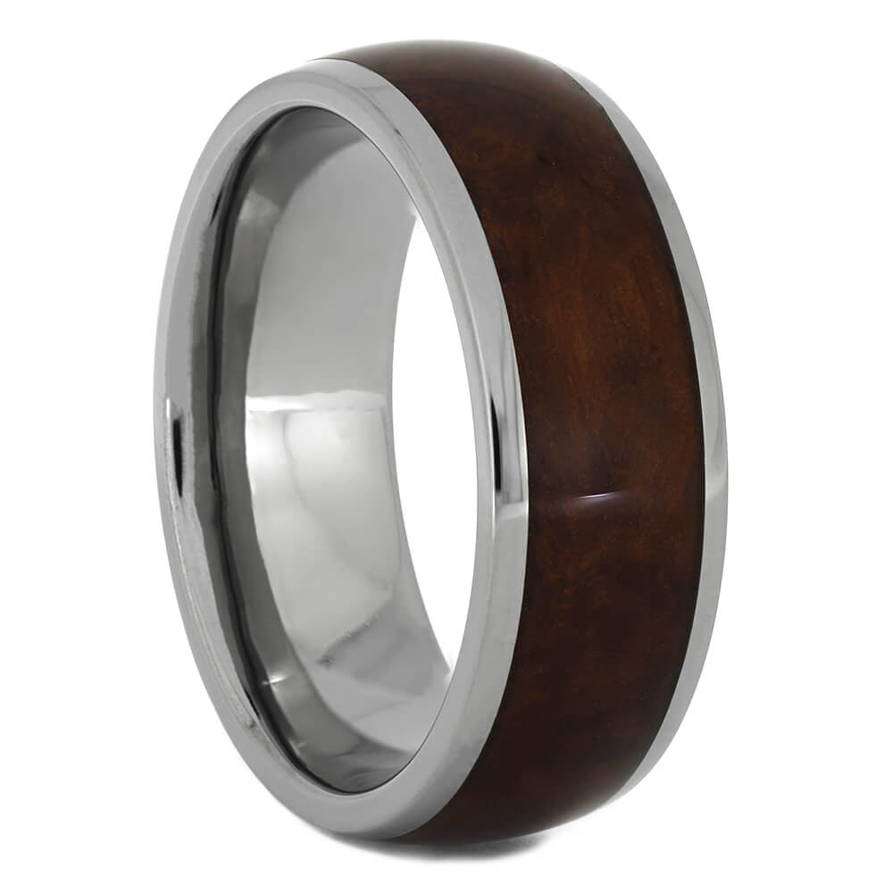 Amboyna Wood Wedding Band in Titanium, Size 10-RS11100 - Jewelry by Johan