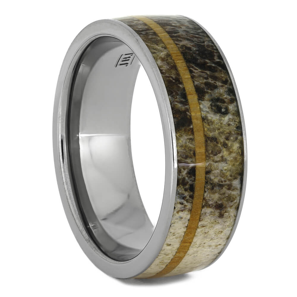 Deer Antler Wedding Band with Oak Wood Pinstripe, Size 10-RS11102 - Jewelry by Johan