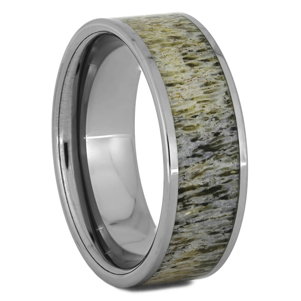 Men's Wedding Band with Deer Antler and Tungsten, Size 10.5-RS11104 - Jewelry by Johan