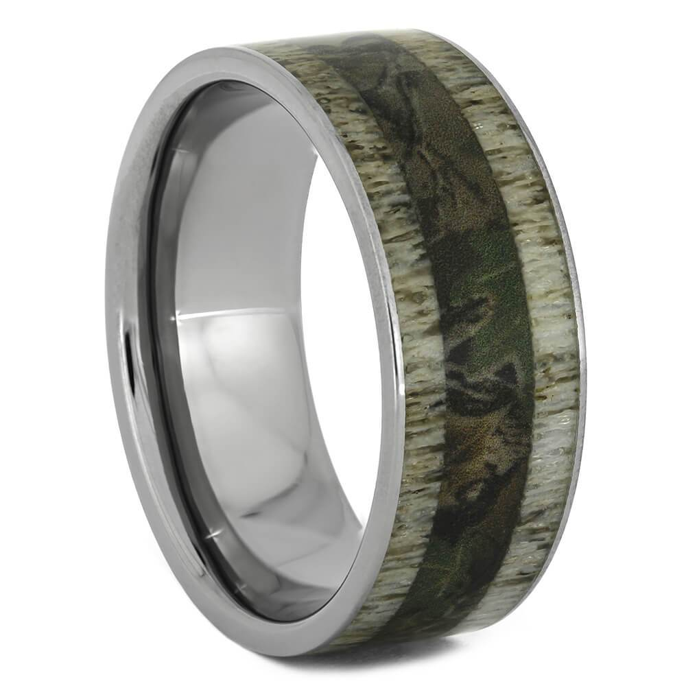 Woodland Camo And Deer Antler Men's Wedding Band in Titanium-2255 - Jewelry by Johan
