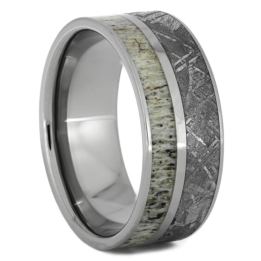Meteorite Wedding Band with Deer Antler, Size 11.75-RS11106 - Jewelry by Johan