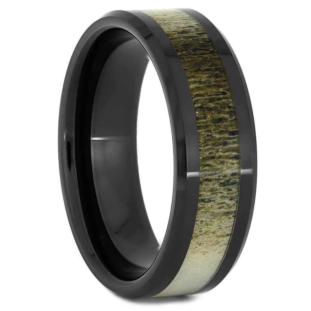 Deer Antler Wedding Band in Black Ceramic, Size 12.5-RS11107 - Jewelry by Johan