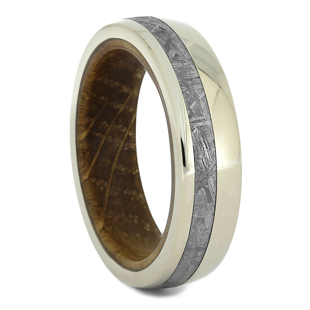 Meteorite Wedding Band with Whiskey Barrel Wood Sleeve, Size 8.25-RS11111 - Jewelry by Johan