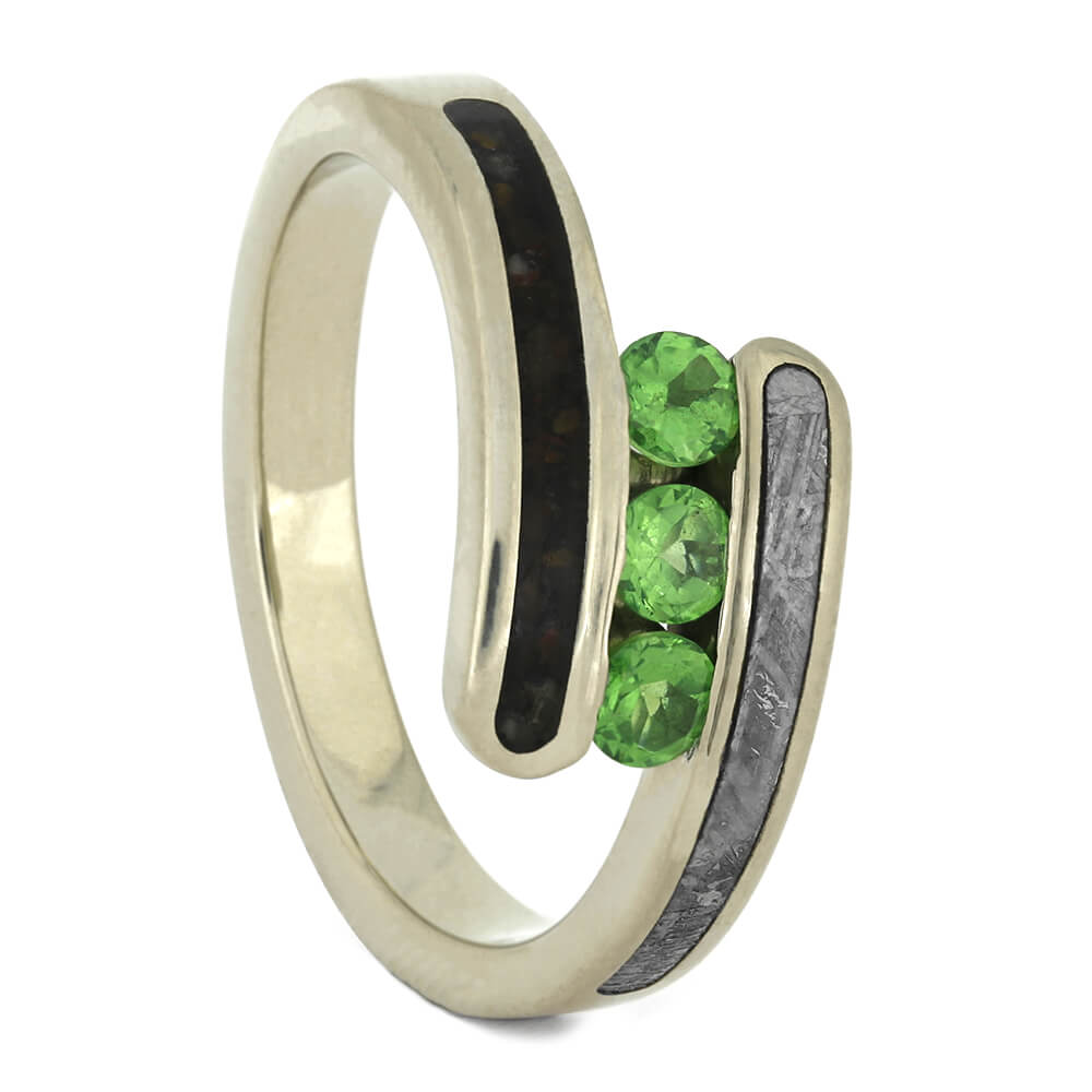 Three Stone Green Garnet Engagement Ring, Size 7.5-RS11115 - Jewelry by Johan