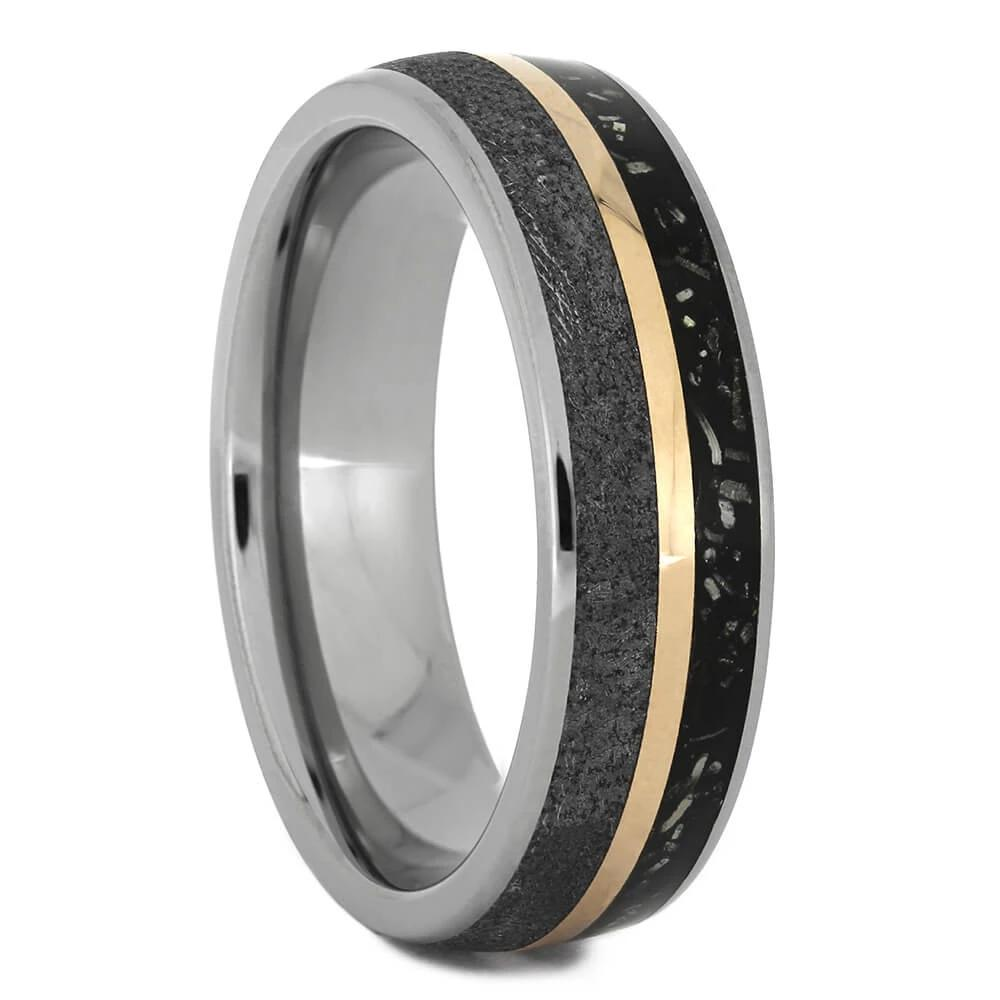 Meteorite Wedding Band with Black Stardust™, Size 8.5-RS11116 - Jewelry by Johan