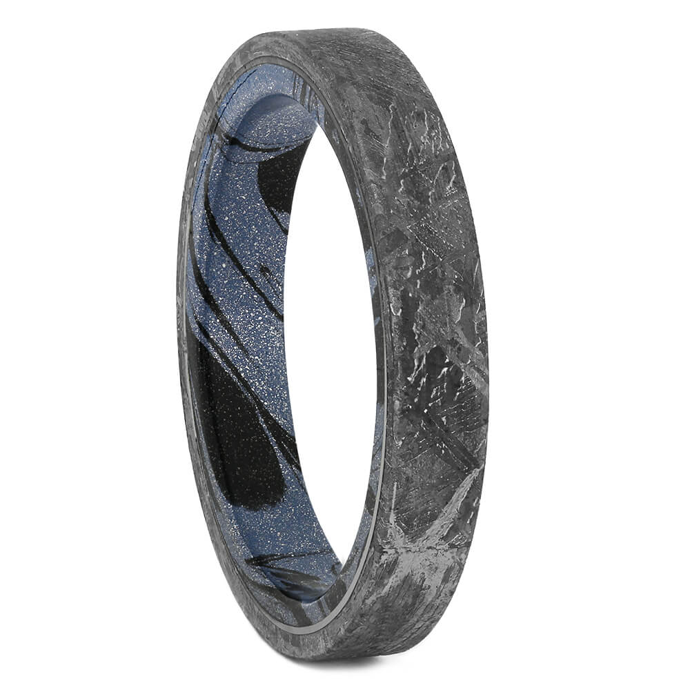 Meteorite Wedding Band with Mokume Sleeve, Size 10-RS11117 - Jewelry by Johan