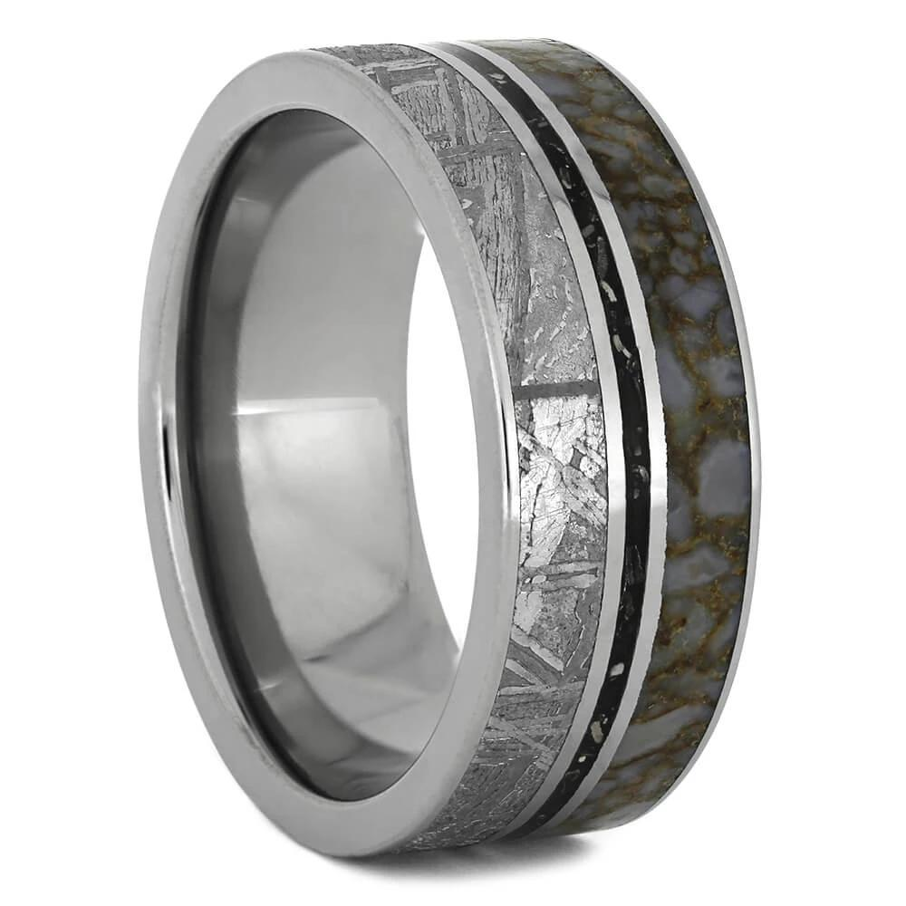 Dinosaur Bone Wedding Band with Meteorite and Black Stardust™, Size 10-RS11118 - Jewelry by Johan