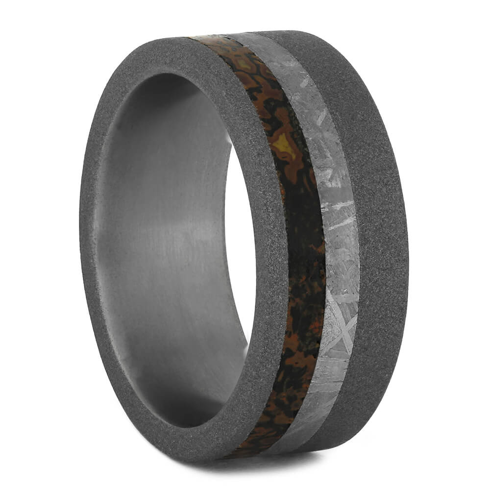Men's Wedding Band with Meteorite and Dinosaur Bone, Size 7.25-RS11124 - Jewelry by Johan