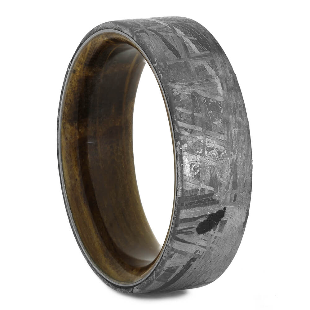 Meteorite Wedding Band with Whiskey Barrel Sleeve, Size 8.25-RS11125 - Jewelry by Johan