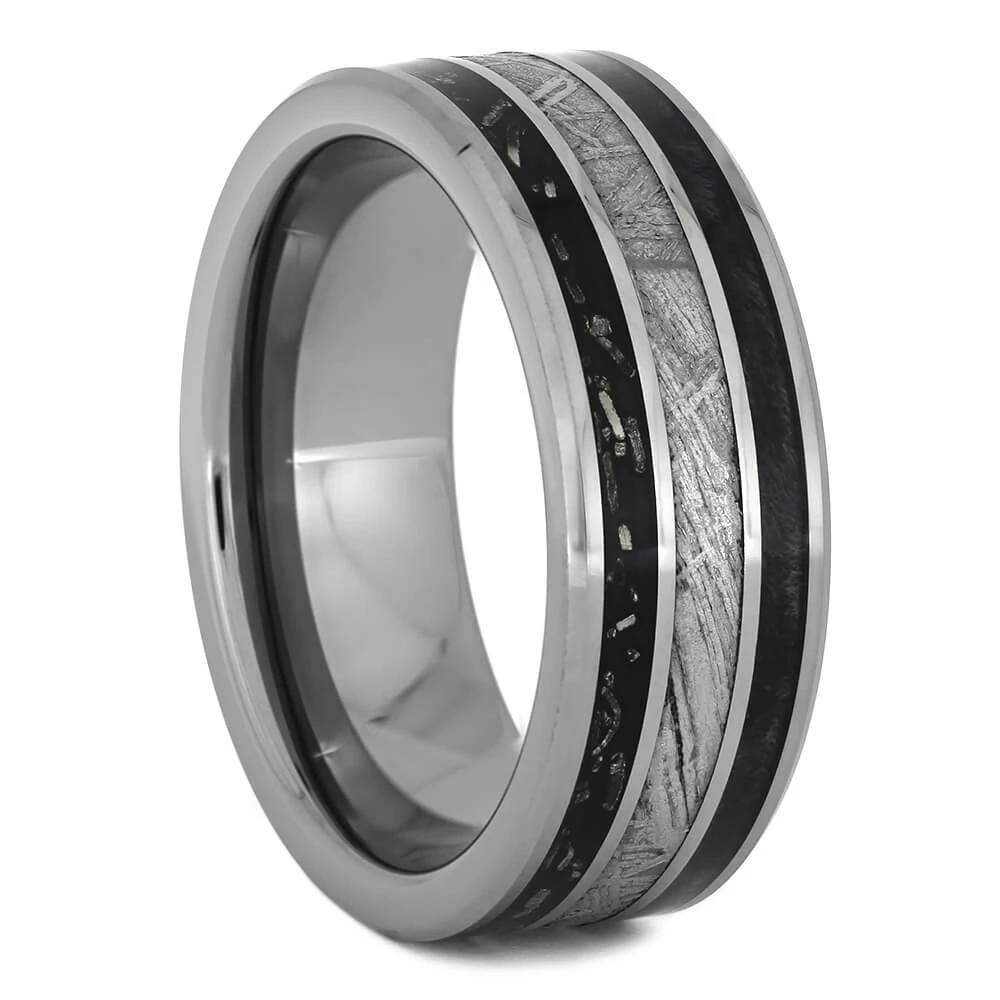 Meteorite Wedding Band with Black Stardust™ and Wood, Size 8.75-RS11126 - Jewelry by Johan