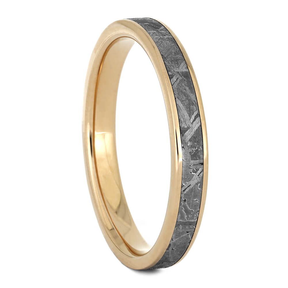 Women's Wedding Band with Meteorite and Rose Gold, Size 8.75-RS11127 - Jewelry by Johan
