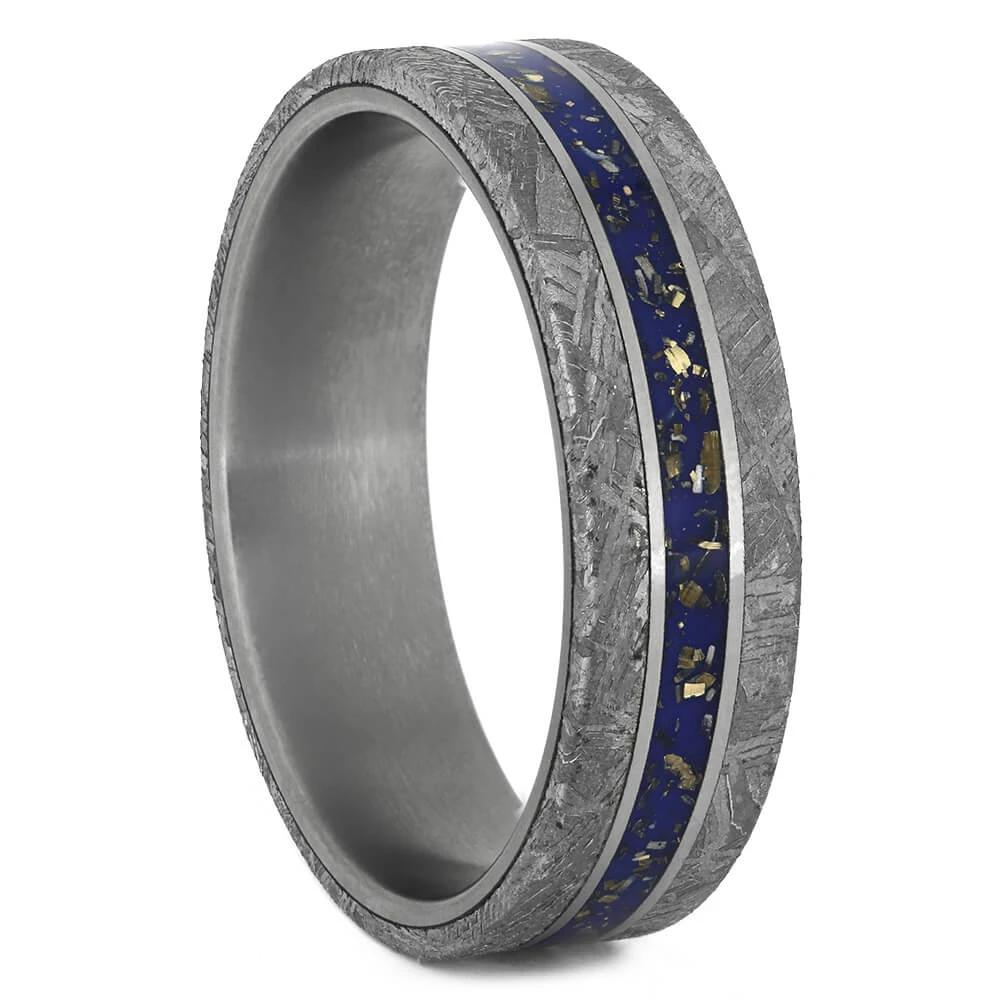 Blue Stardust™ Wedding Band with Meteorite, Size 12.75-RS11132 - Jewelry by Johan