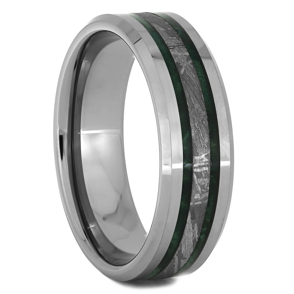 Meteorite Wedding Band with Green Box Elder Burl Wood, Size 13.5-RS11133 - Jewelry by Johan
