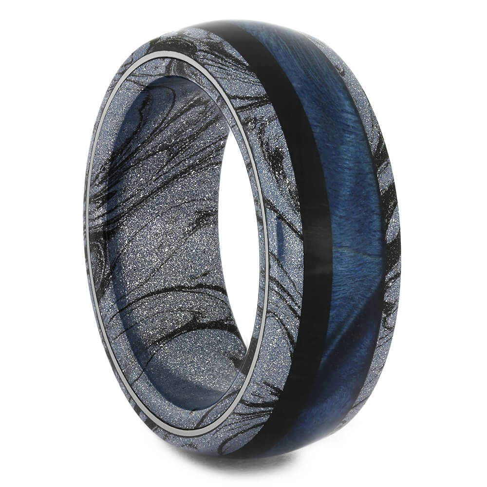 Cobaltium Mokume Wedding Band with Dual Wood, Size 8.5-RS11137 - Jewelry by Johan