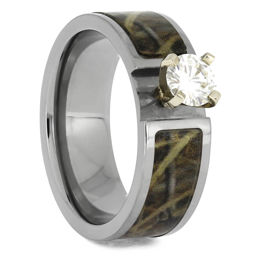 Moissanite Engagement Ring with Camo Pattern Band, Size 7-RS11140