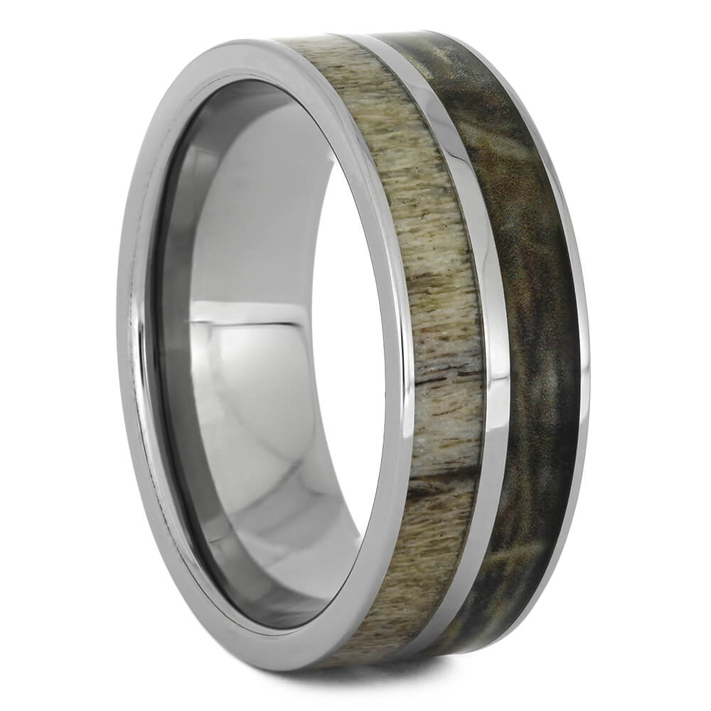 Camo Wedding Band with Antler Inlay, Size 10-RS11143 - Jewelry by Johan