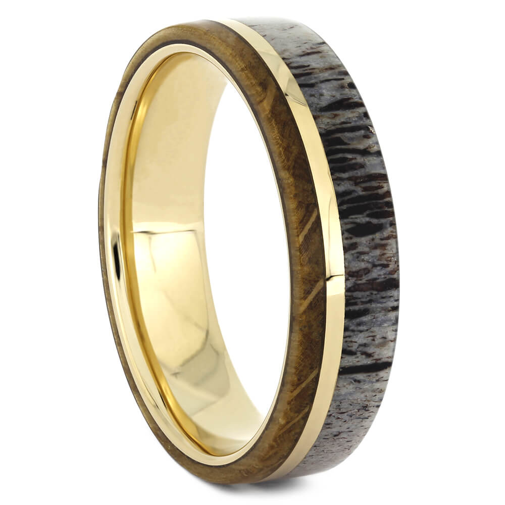 Yellow Gold Wedding Band with Whiskey Oak Wood and Antler