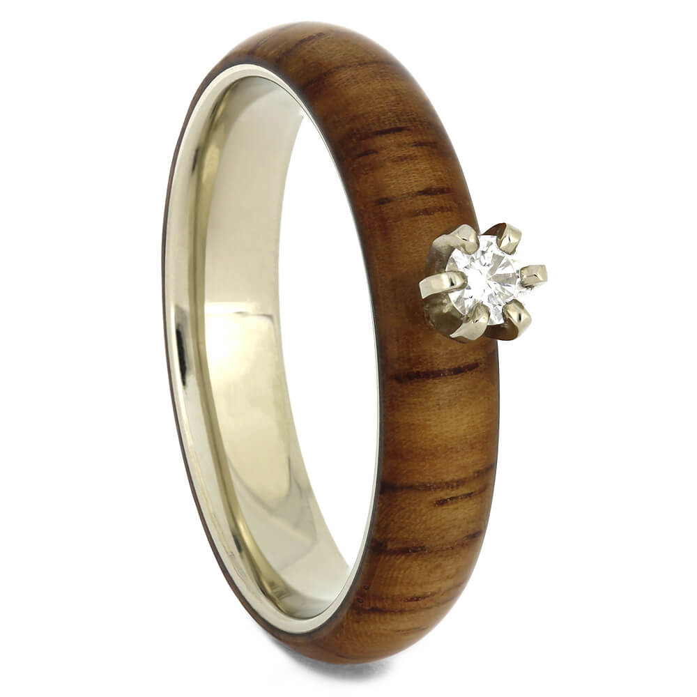 White Gold Rosewood Engagement Ring with Diamond, Size 8-RS11149 - Jewelry by Johan