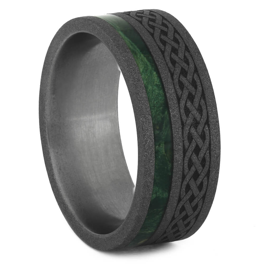 Celtic Style Ring with Green Wood Accent for Men