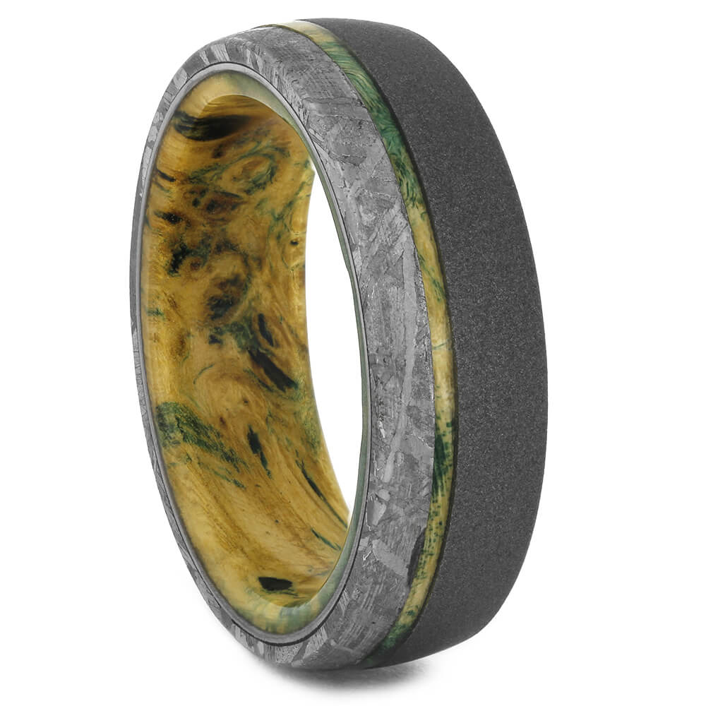 Meteorite Wedding Band with Green Wood, Size 9-RS11152 - Jewelry by Johan