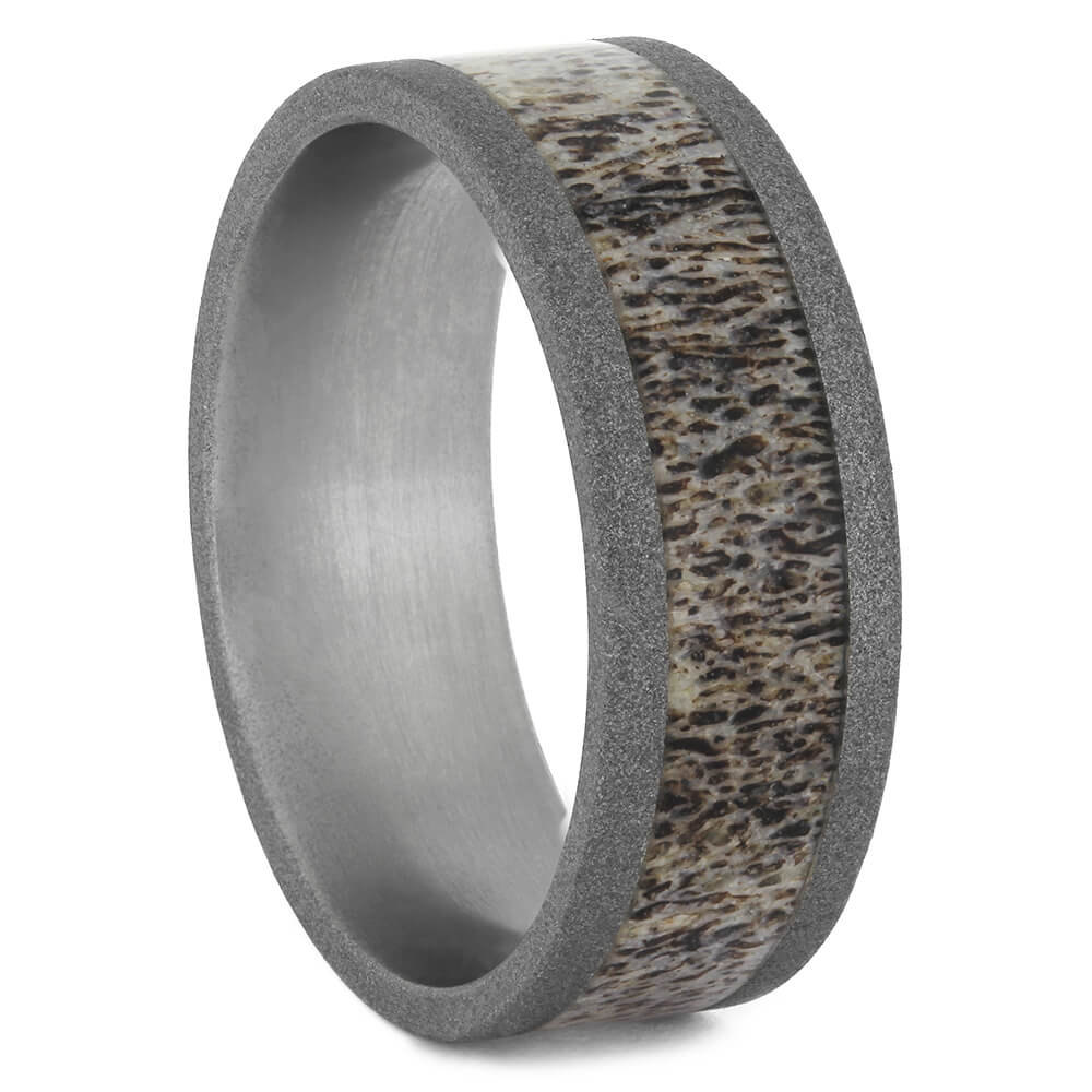 Antler Wedding Band for Men with Sandblasted Finish, Size 11-RS11154 - Jewelry by Johan