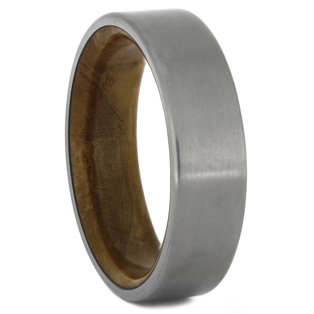 Exotic Wood Ring with Titanium Overlay, Size 9.75-RS11156 - Jewelry by Johan