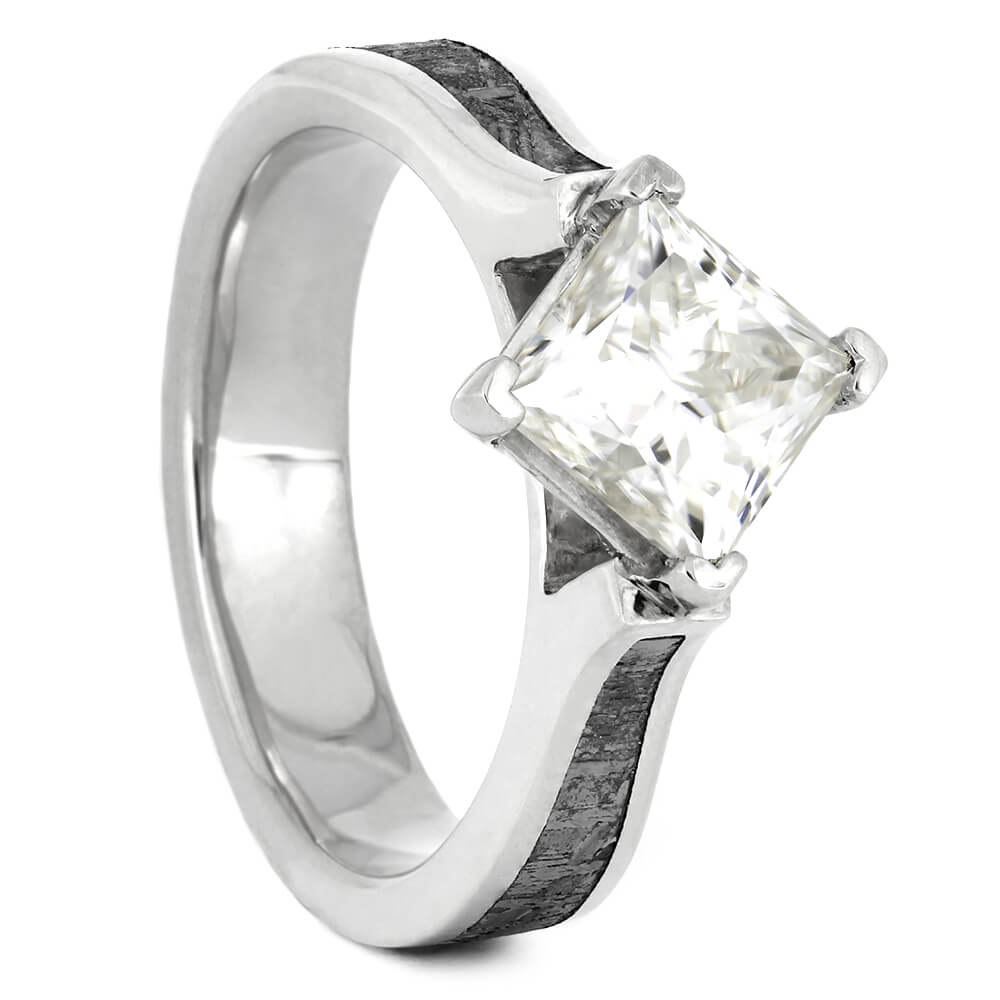 Square-Cut Engagement Ring with Meteorite and Moissanite, Size 5-RS11158 - Jewelry by Johan