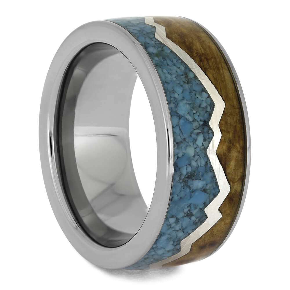 Turquoise and Wood Mountain Wedding Band