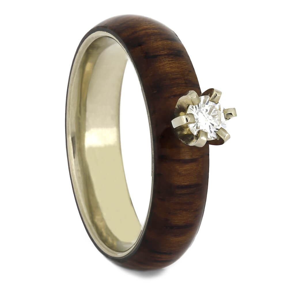 Honduran Rosewood Engagement Ring with Diamond, Size 4.75-RS11162 - Jewelry by Johan