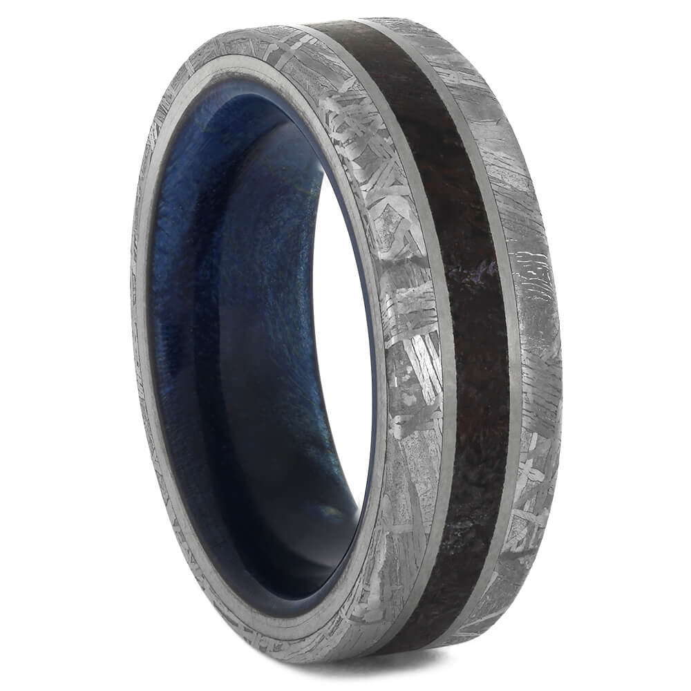 Gibeon Meteorite and Dinosaur Bone Ring with Blue Wood Sleeve